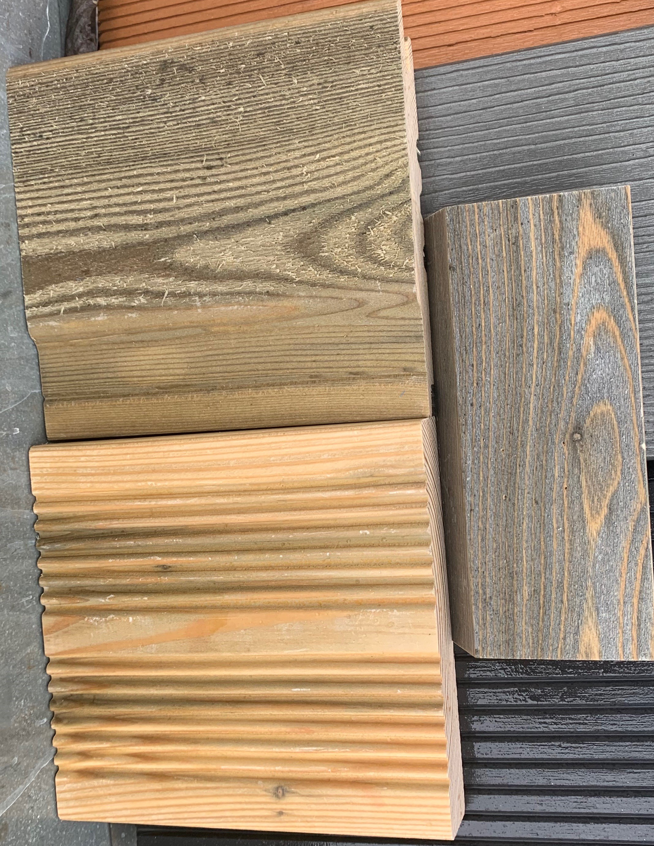 Samples Treated SertiWOOD Aged Look New Unweathered Day 1