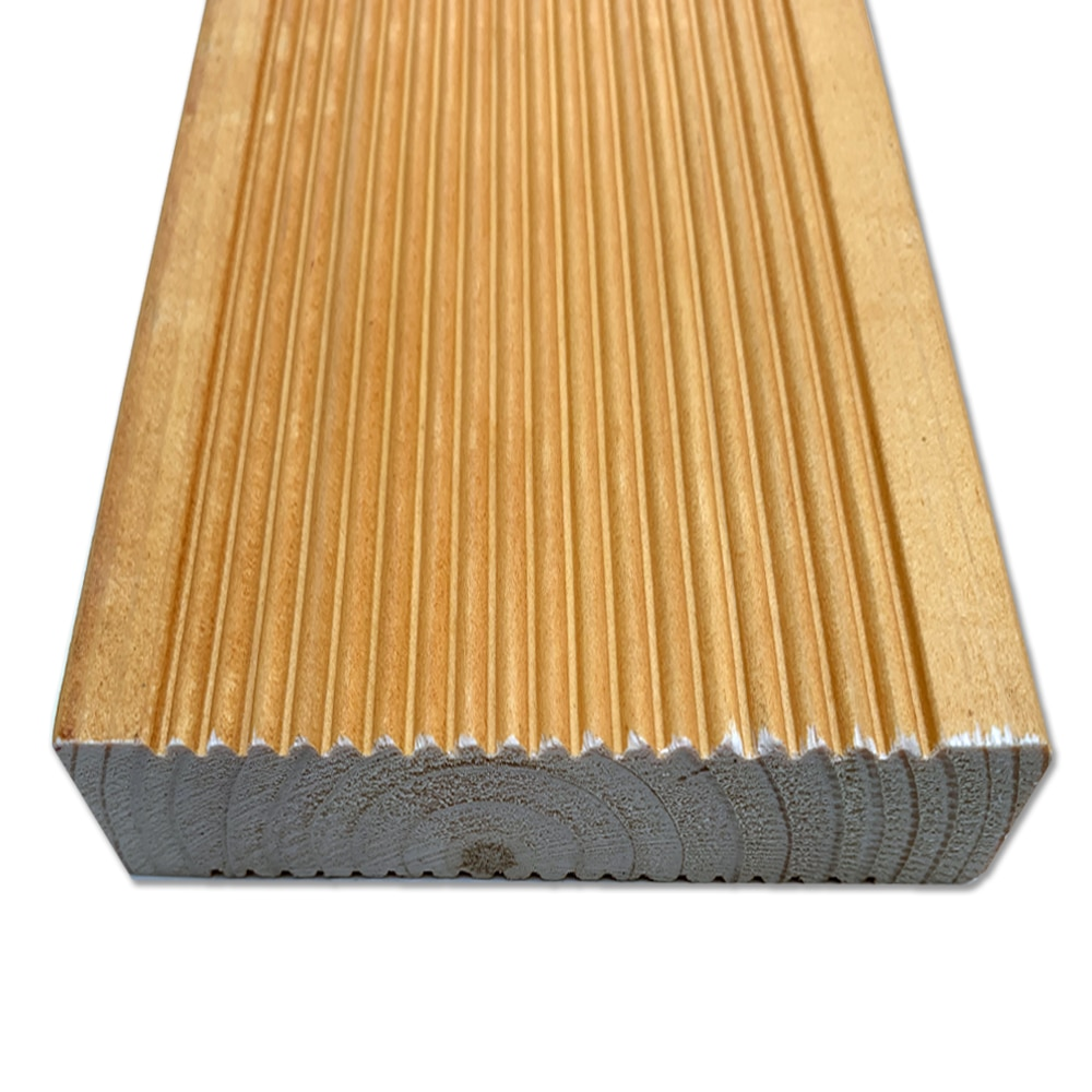 Orange - Sand Oak Colour Stained timber decking, reeded profile (Pack)
