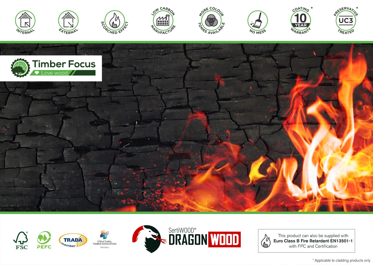 Black Charcoal Stained Dragonwood Charred Burnt Scorched  Effect Tongue & Groove Profile (pack)